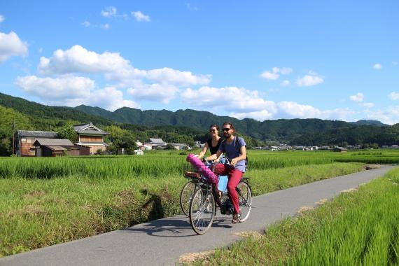 Cycling at the historical sites in Asuka village